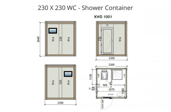 KW2 230X230 WC- Container de Duș