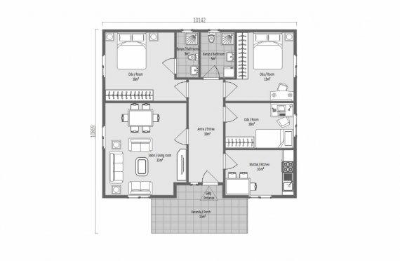 100 m2 Case Modulare Mari cu un Singur Etaj
