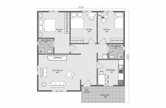 103 m2 Casă Modulară cu Verandă