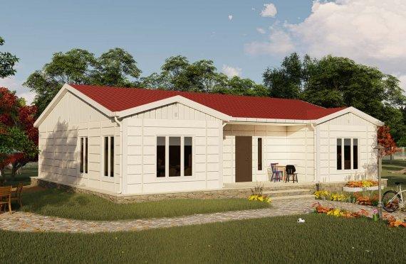 123 m2 Case Modulare cu Acoperiș Înalt
