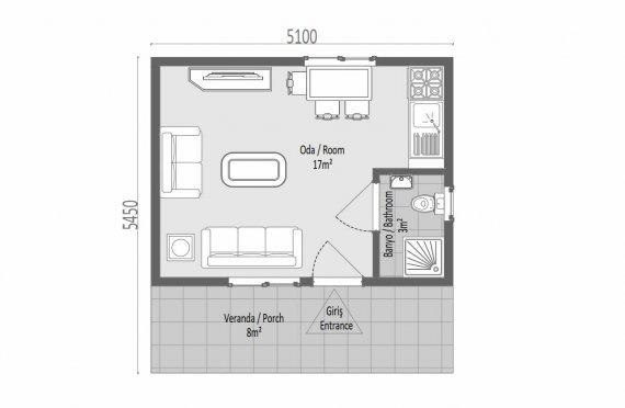 28m2 case modulare cu un singur etaj