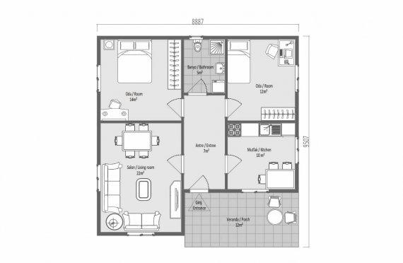 82 m2 Case Modulare cu Acoperiș Înalt