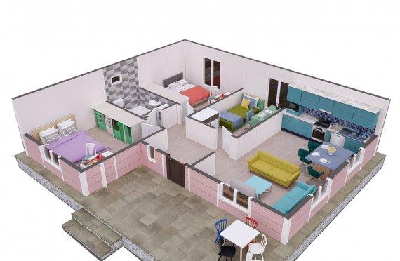 87 m2 Case Modulare cu un Singur Etaj