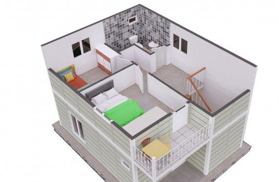 91 m2 Case Prefabricate cu Două Etaj