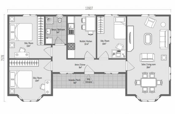 97 m2 Case Modulare de Familie