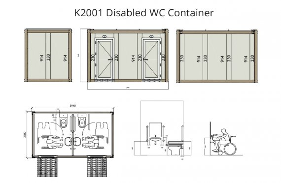 K 2001 Container WC pentru Invalid