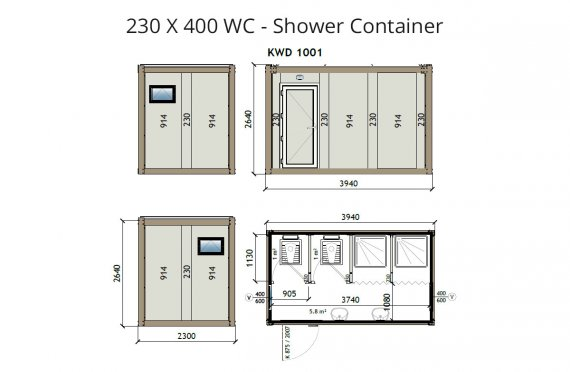 KW4 230X400 Container de WC- Duș