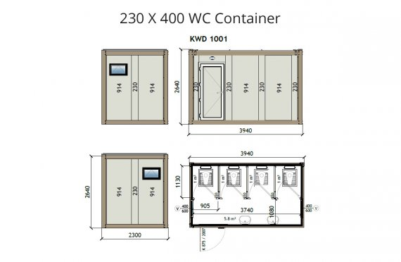 KW4 230X400 Container de WC