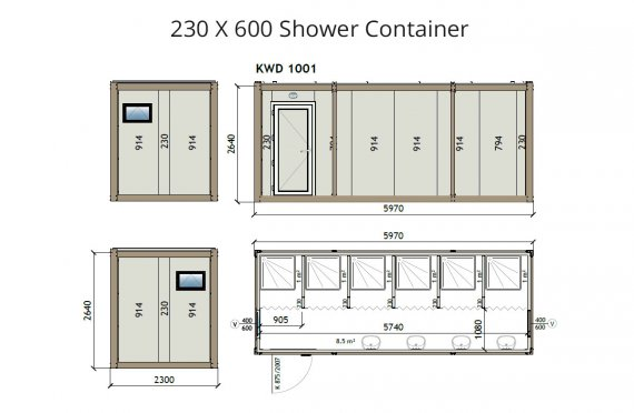 KW6 230X600 Container de Duș