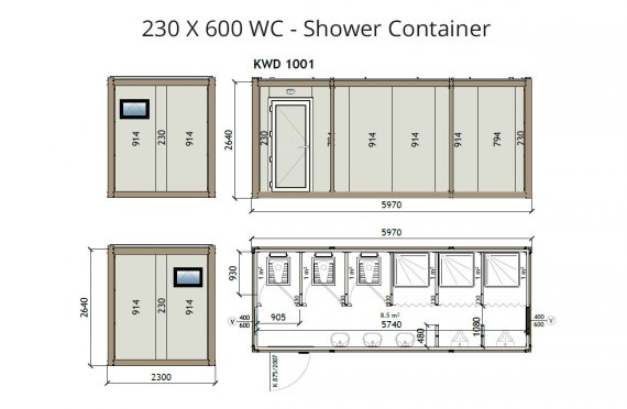 KW6 230X600 Wc - Container de Duș