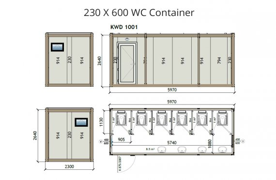 KW6 230X600 Container Wc