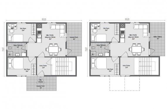 Modesta Casa Pré-fabricada de 137 m2