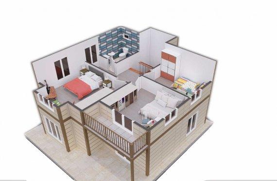 Modestas Casas Pré-fabricadas de 138 m2